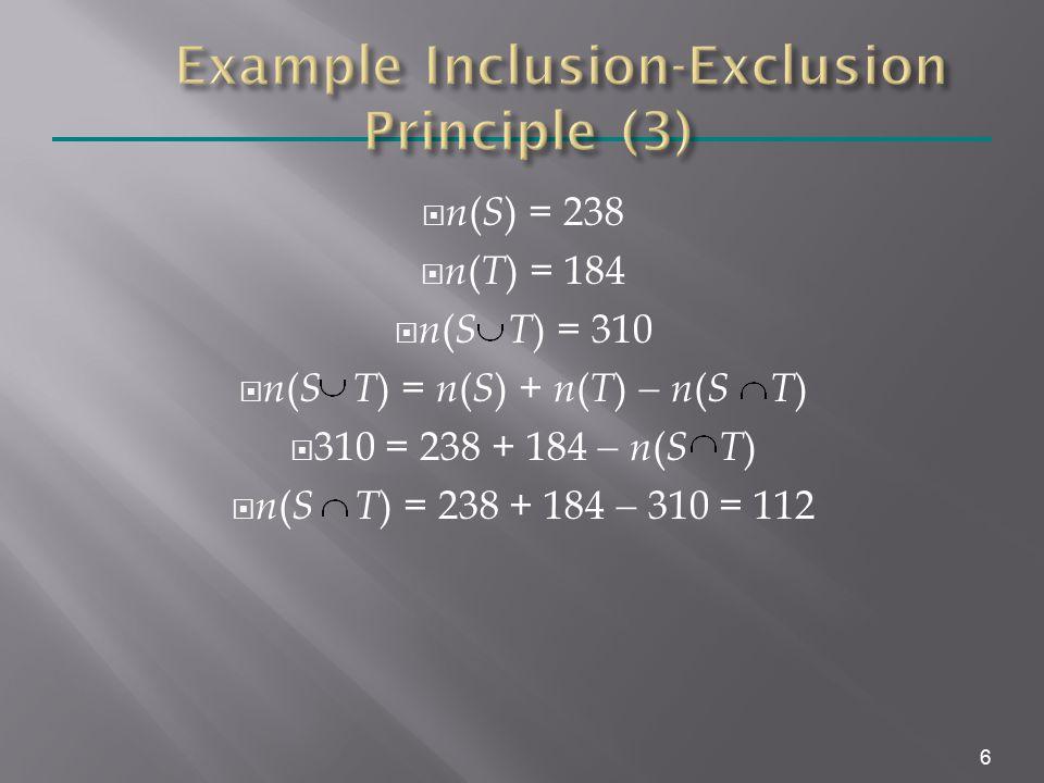 n ( S ) = 238  n ( T ) = 184  n ( S T ) = 310  n ( S T ) = n ( S ) + n ( T )  n ( S T )  310 = 238 + 184  n ( S T )  n ( S T ) = 238 + 184  310 = 112 6