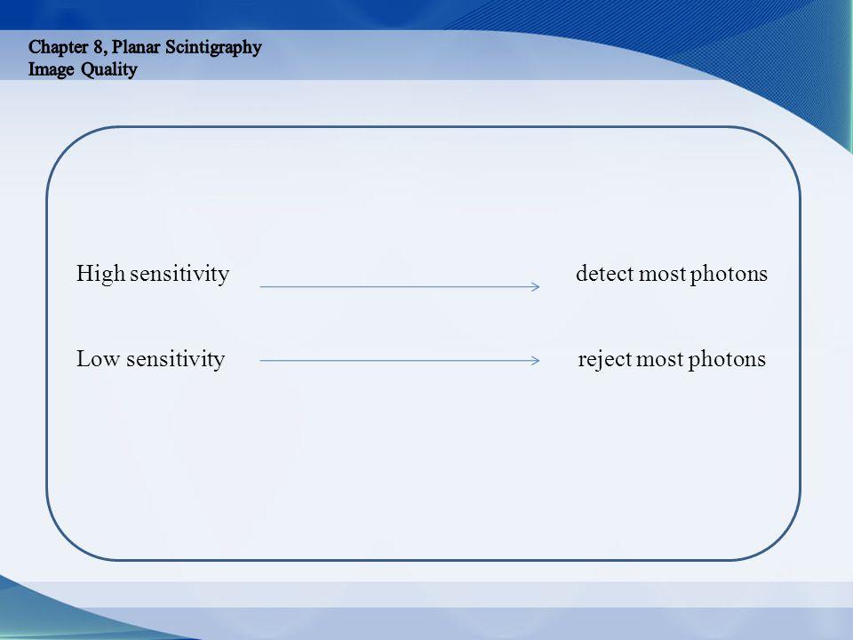 High sensitivity detect most photons Low sensitivity reject most photons