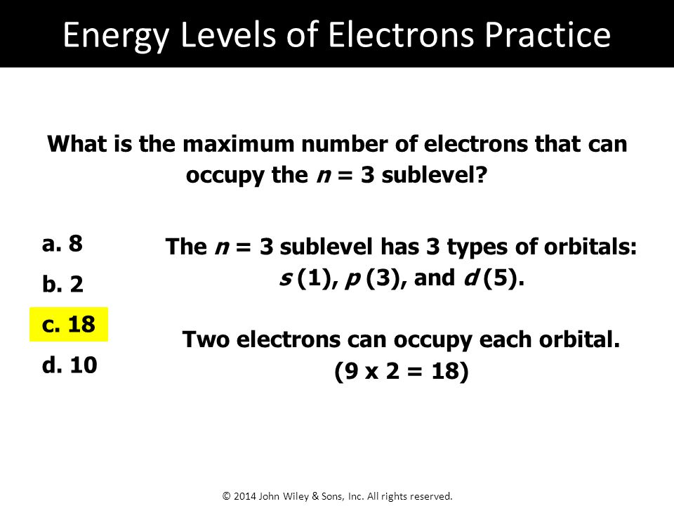 What is the maximum number of electrons that can occupy the n = 3 sublevel.