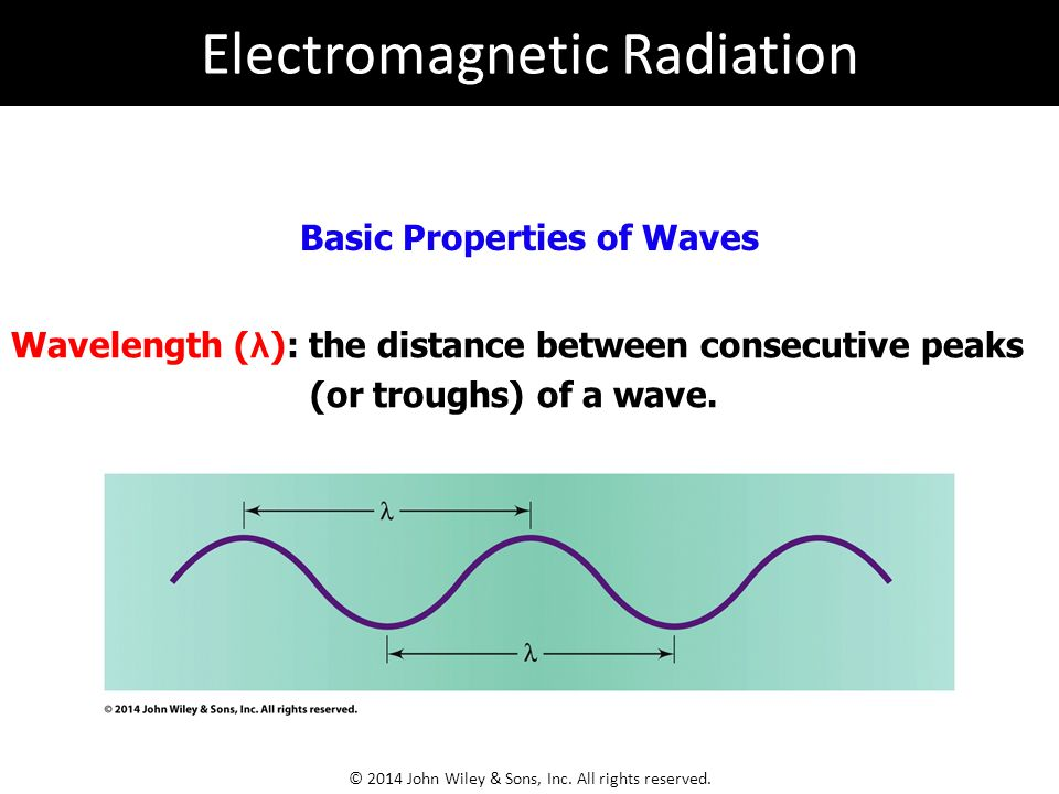 Basic Properties of Waves Wavelength ( λ ): the distance between consecutive peaks (or troughs) of a wave.