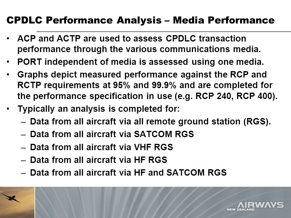 CPDLC Performance Analysis – Media Performance ACP and ACTP are used to assess CPDLC transaction performance through the various communications media.