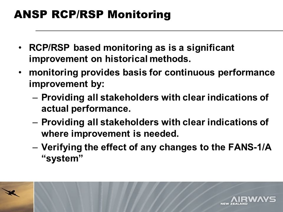 ANSP RCP/RSP Monitoring RCP/RSP based monitoring as is a significant improvement on historical methods. monitoring provides basis for continuous perfo
