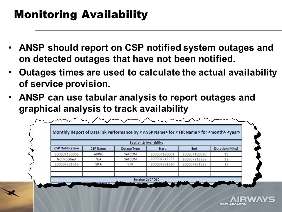 Monitoring Availability ANSP should report on CSP notified system outages and on detected outages that have not been notified. Outages times are used
