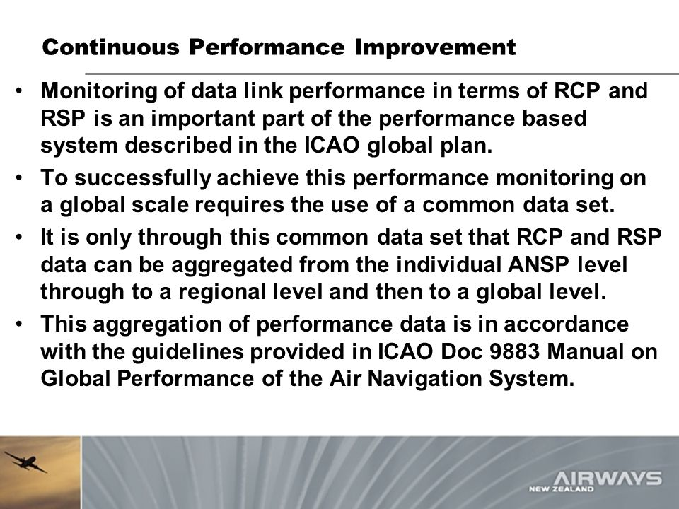 Continuous Performance Improvement Monitoring of data link performance in terms of RCP and RSP is an important part of the performance based system de
