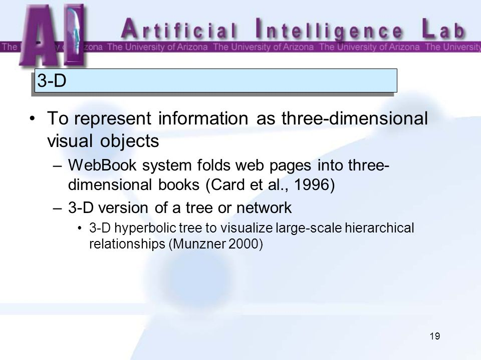 19 3-D To represent information as three-dimensional visual objects –WebBook system folds web pages into three- dimensional books (Card et al., 1996) –3-D version of a tree or network 3-D hyperbolic tree to visualize large-scale hierarchical relationships (Munzner 2000)