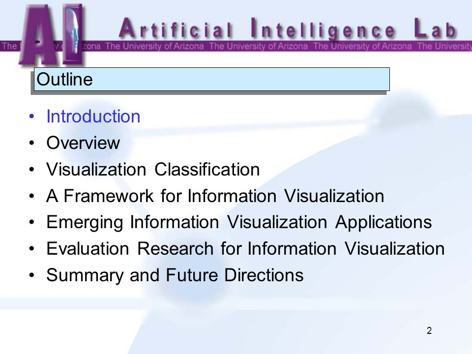 2 Outline Introduction Overview Visualization Classification A Framework for Information Visualization Emerging Information Visualization Applications