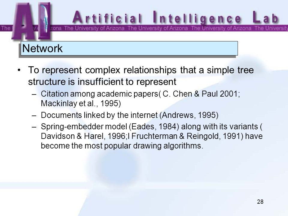 28 Network To represent complex relationships that a simple tree structure is insufficient to represent –Citation among academic papers( C.