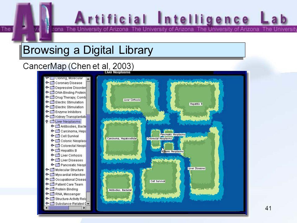 41 Browsing a Digital Library CancerMap (Chen et al, 2003)