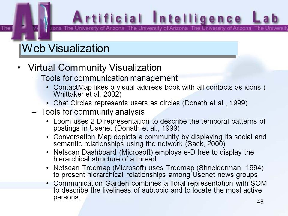 46 Web Visualization Virtual Community Visualization –Tools for communication management ContactMap likes a visual address book with all contacts as i