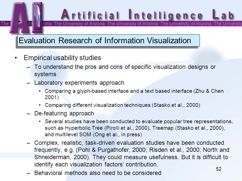 52 Evaluation Research of Information Visualization Empirical usability studies –To understand the pros and cons of specific visualization designs or
