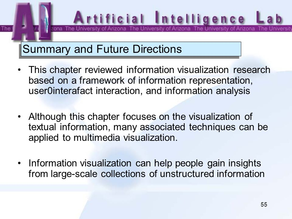 55 Summary and Future Directions This chapter reviewed information visualization research based on a framework of information representation, user0int