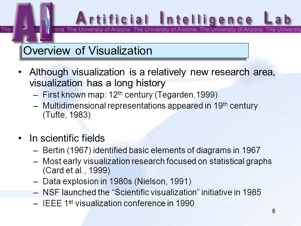 6 Overview of Visualization Although visualization is a relatively new research area, visualization has a long history –First known map: 12 th century