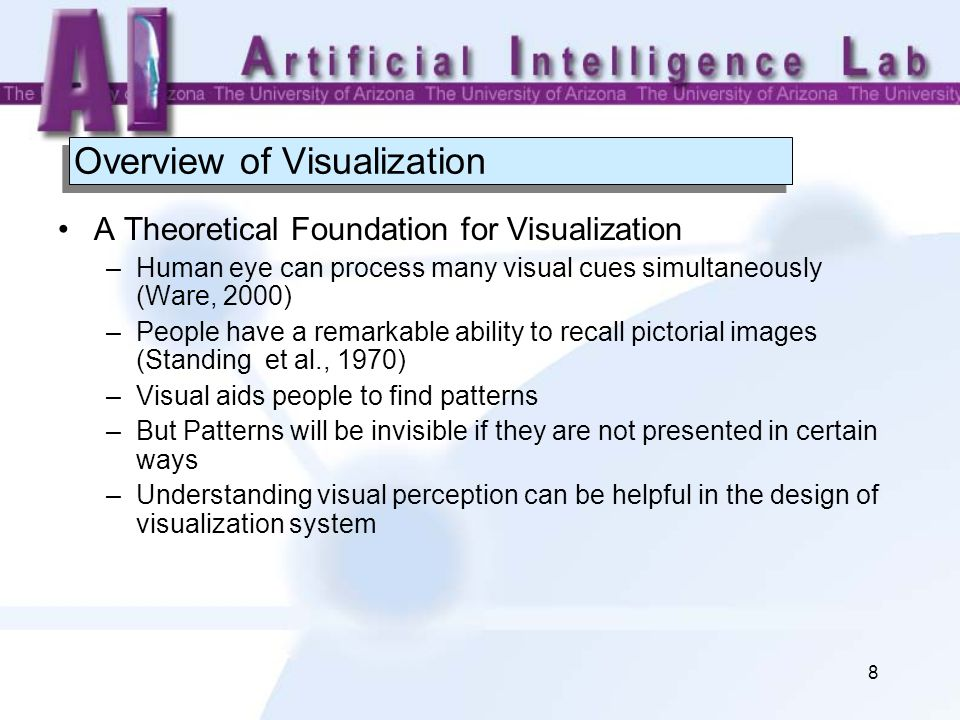 8 Overview of Visualization A Theoretical Foundation for Visualization –Human eye can process many visual cues simultaneously (Ware, 2000) –People have a remarkable ability to recall pictorial images (Standing et al., 1970) –Visual aids people to find patterns –But Patterns will be invisible if they are not presented in certain ways –Understanding visual perception can be helpful in the design of visualization system