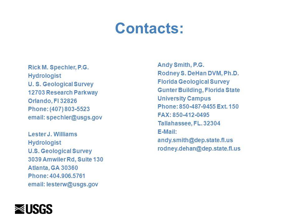 Contacts: Rick M. Spechler, P.G. Hydrologist U. S.