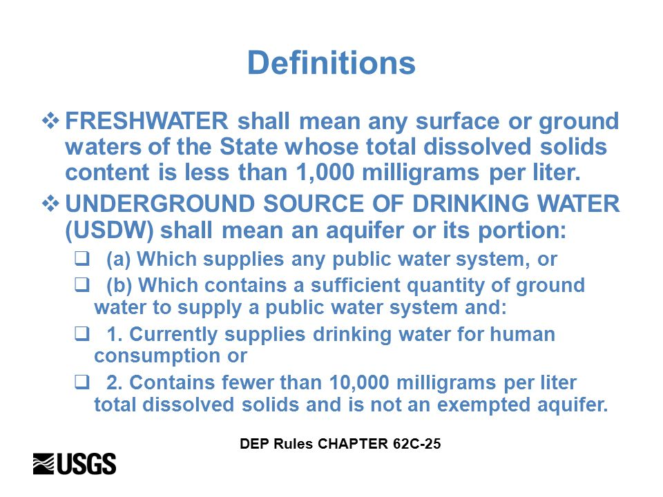 Definitions  FRESHWATER shall mean any surface or ground waters of the State whose total dissolved solids content is less than 1,000 milligrams per liter.