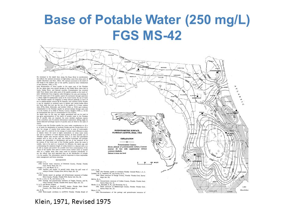 Base of Potable Water (250 mg/L) FGS MS-42 Klein, 1971, Revised 1975