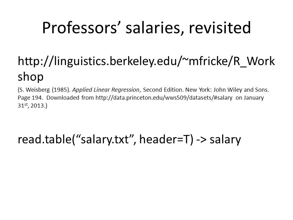 Professors' salaries, revisited http://linguistics.berkeley.edu/~mfricke/R_Work shop (S. Weisberg (1985). Applied Linear Regression, Second Edition. N