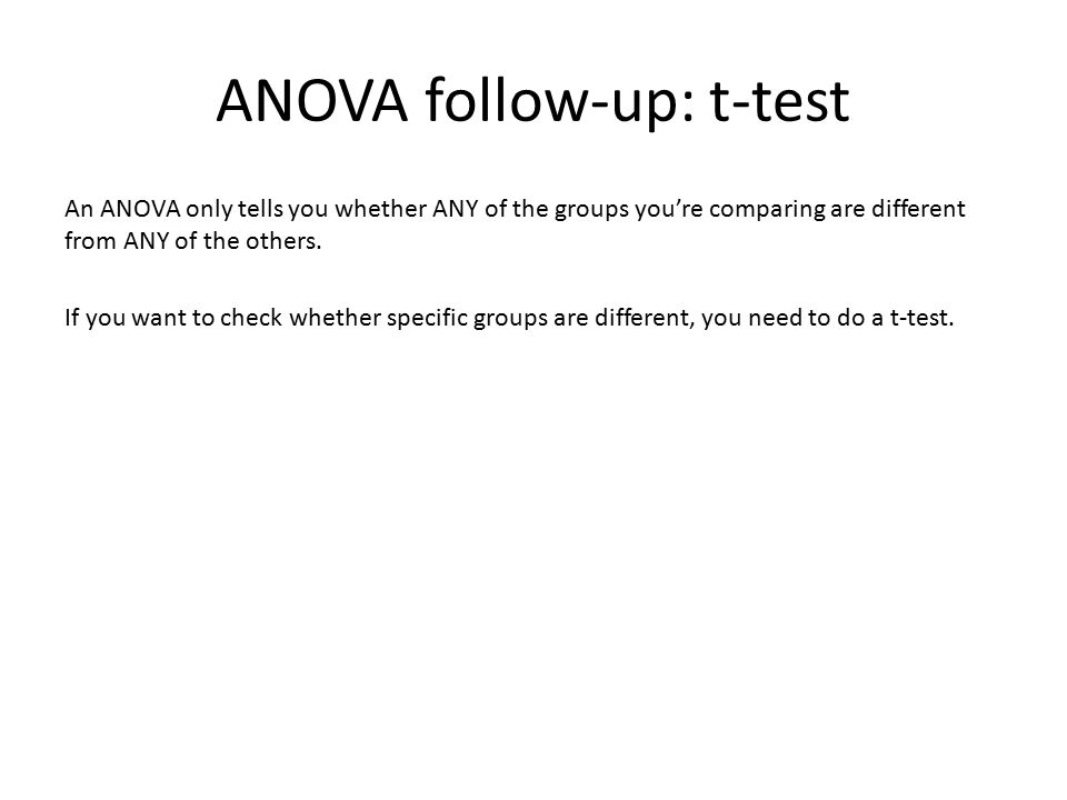 ANOVA follow-up: t-test An ANOVA only tells you whether ANY of the groups you're comparing are different from ANY of the others. If you want to check