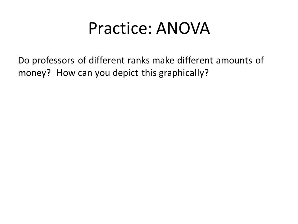 Practice: ANOVA Do professors of different ranks make different amounts of money? How can you depict this graphically?