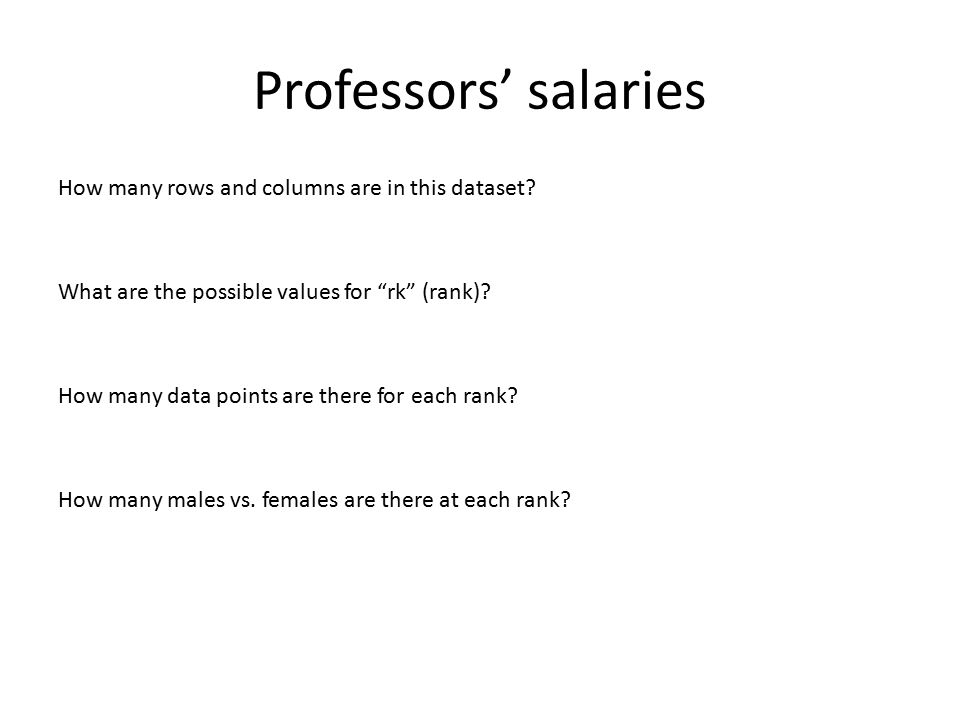 """Professors' salaries How many rows and columns are in this dataset? What are the possible values for """"rk"""" (rank)? How many data points are there for e"""