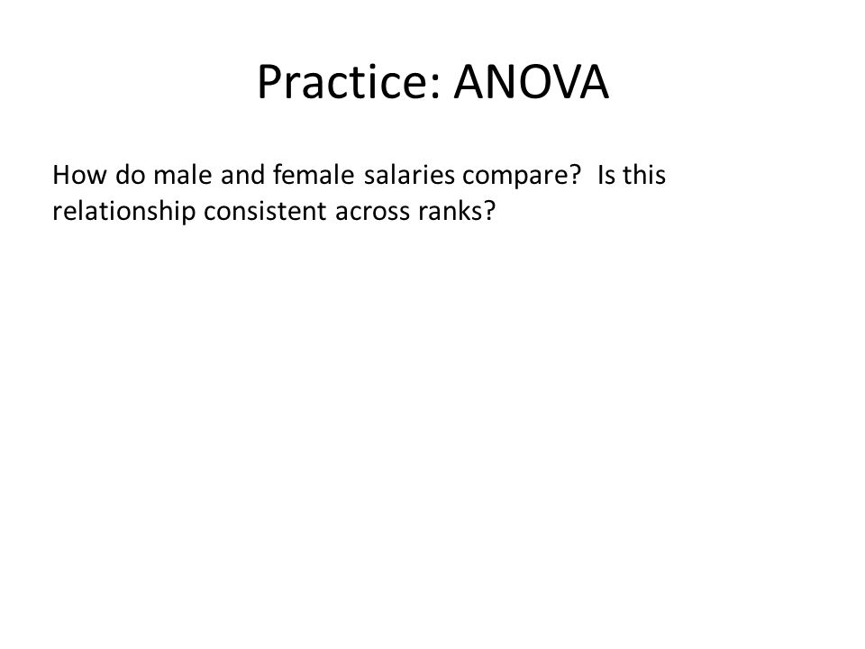 Practice: ANOVA How do male and female salaries compare? Is this relationship consistent across ranks?