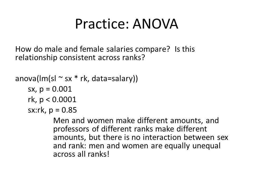 Practice: ANOVA How do male and female salaries compare? Is this relationship consistent across ranks? anova(lm(sl ~ sx * rk, data=salary)) sx, p = 0.