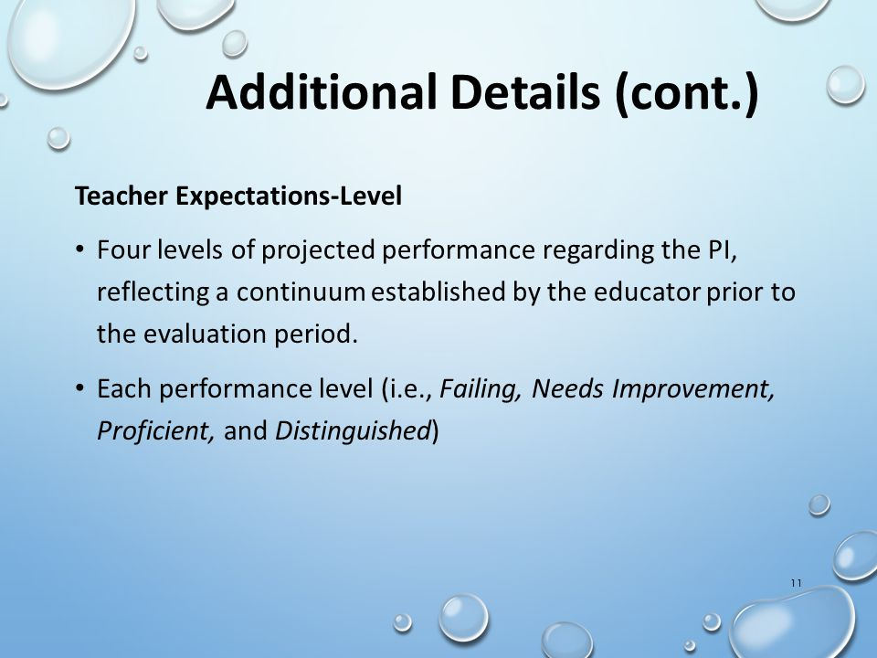 Teacher Expectations-Level Four levels of projected performance regarding the PI, reflecting a continuum established by the educator prior to the eval