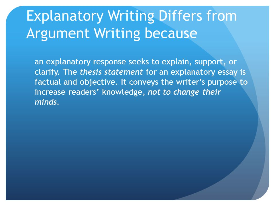 Explanatory Writing Differs from Argument Writing because an explanatory response seeks to explain, support, or clarify.