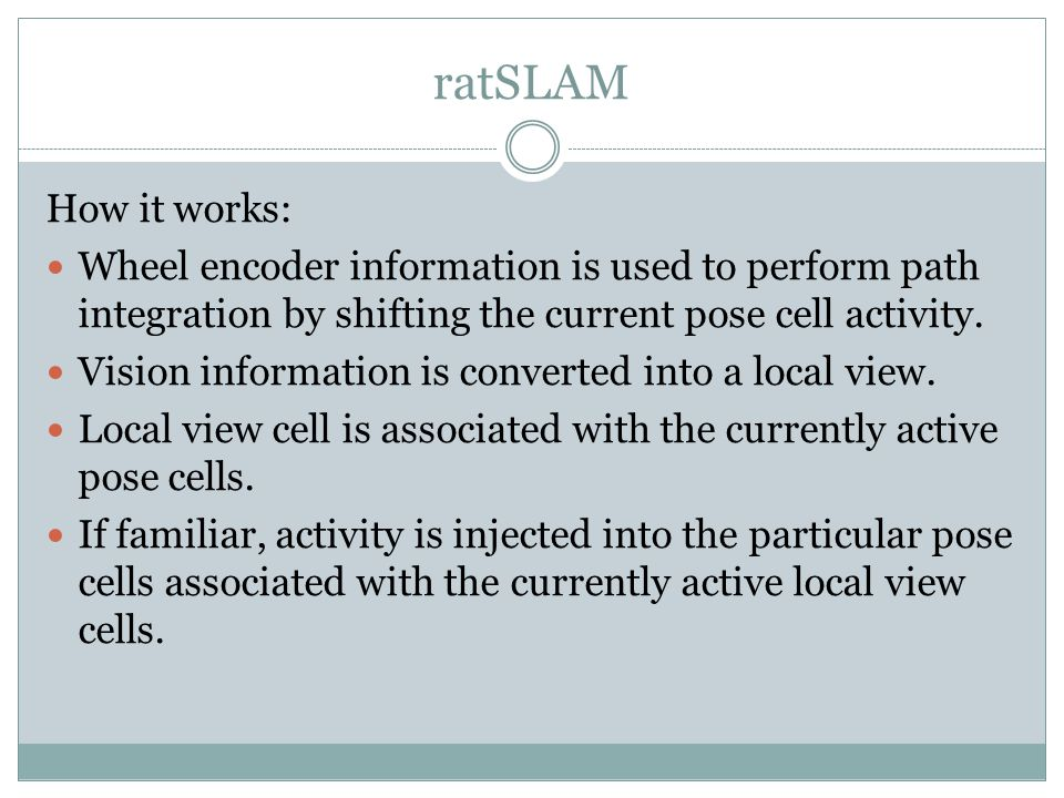 ratSLAM How it works: Wheel encoder information is used to perform path integration by shifting the current pose cell activity.