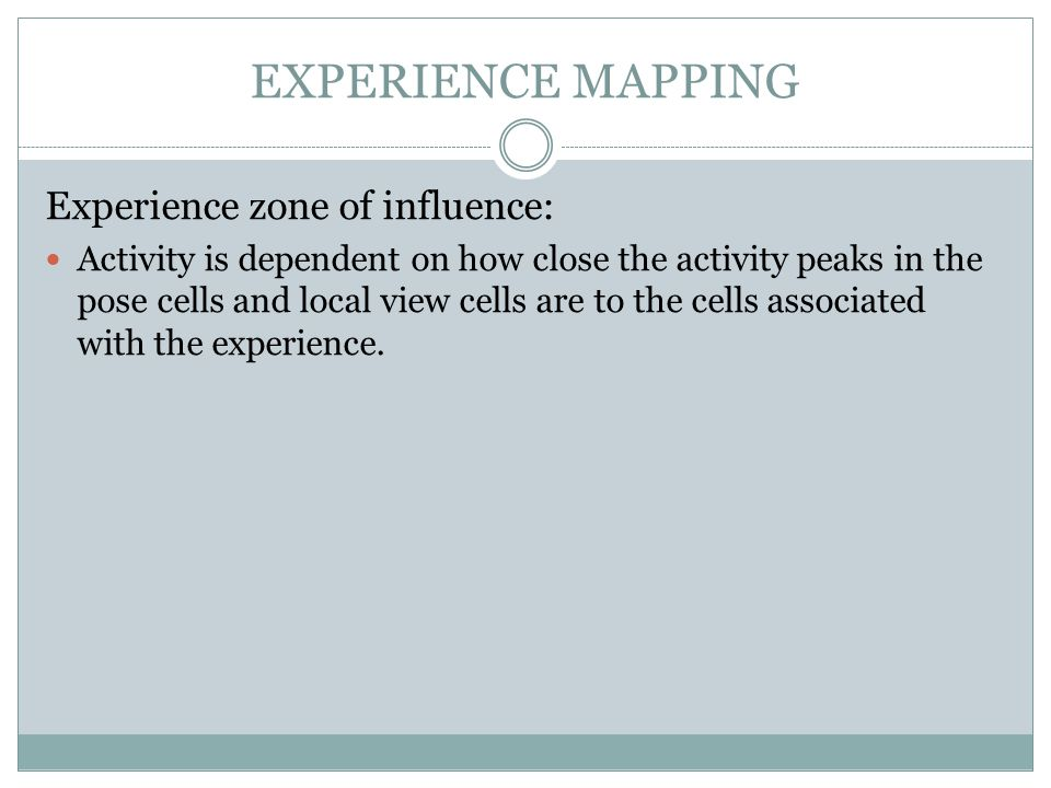 EXPERIENCE MAPPING Experience zone of influence: Activity is dependent on how close the activity peaks in the pose cells and local view cells are to the cells associated with the experience.