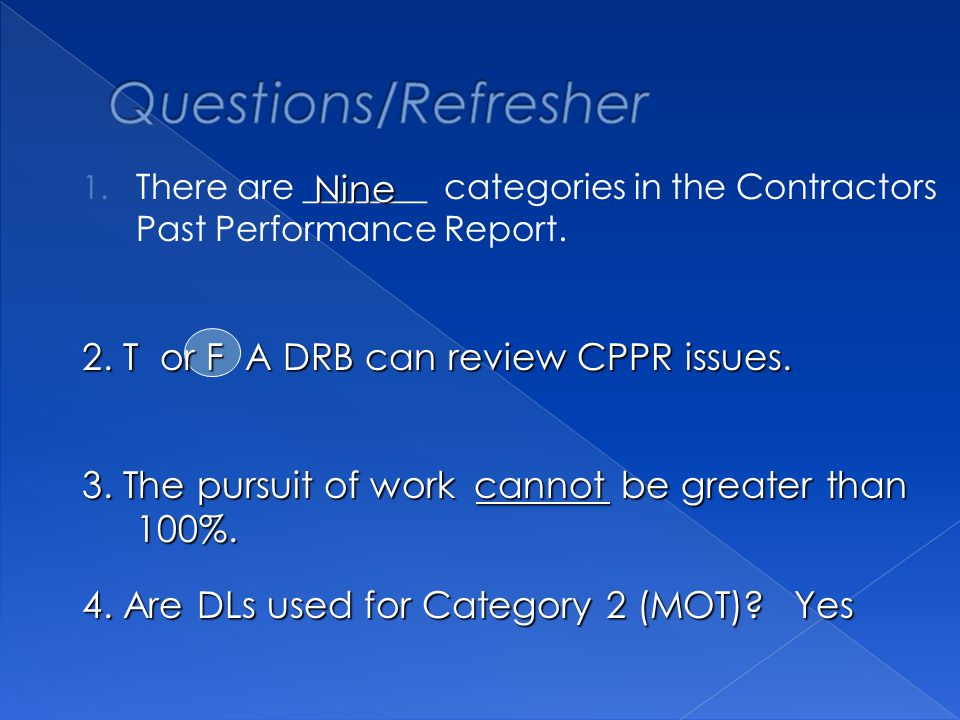 1. There are _______ categories in the Contractors Past Performance Report.