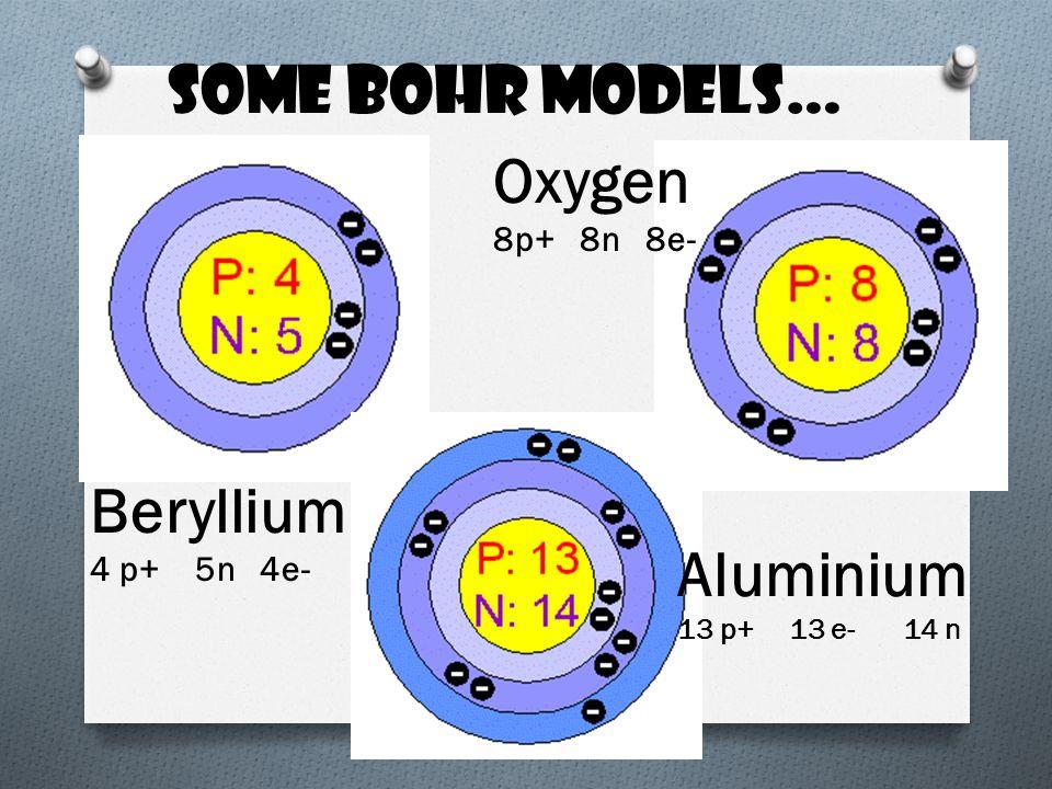 Some Bohr models… Beryllium 4 p+ 5n 4e- Oxygen 8p+ 8n 8e- Aluminium 13 p+ 13 e- 14 n