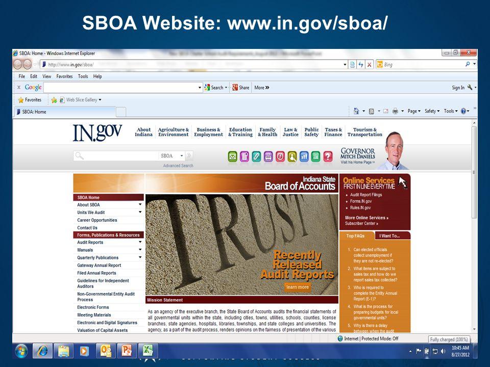 SBOA Website: www.in.gov/sboa/ 23
