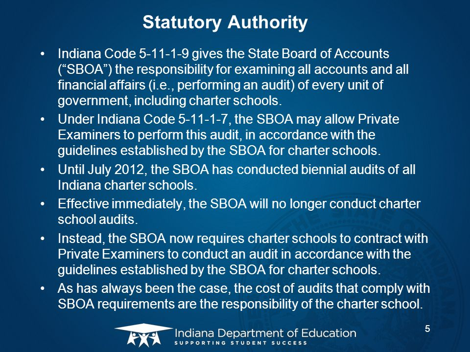 US DOE Requirements This change in state auditing procedures for Indiana charter schools is required by the US DOE for states, such as Indiana, that receive and administer the federal Public Charter School Program ( PCSP ) planning and implementation grant for charter schools.