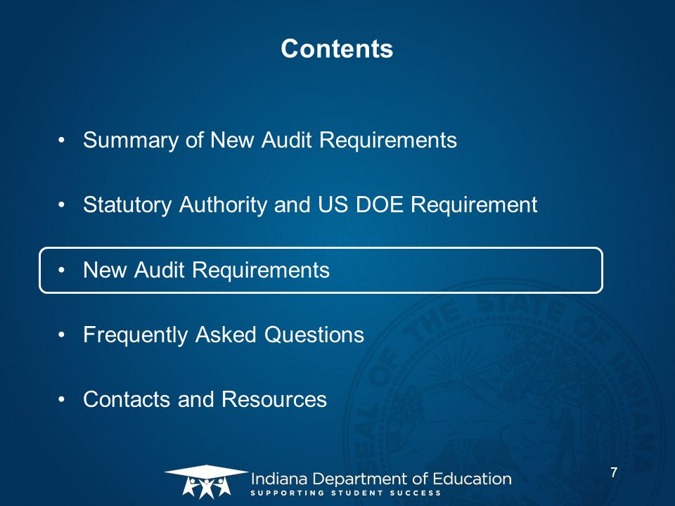 Contents Summary of New Audit Requirements Statutory Authority and US DOE Requirement New Audit Requirements Frequently Asked Questions Contacts and R