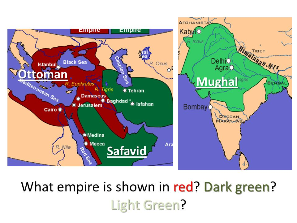 redDark green Light Green What empire is shown in red.