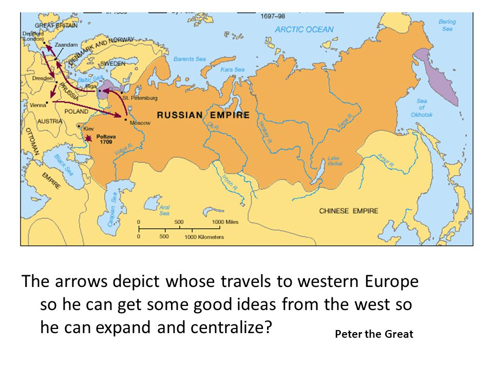 The arrows depict whose travels to western Europe so he can get some good ideas from the west so he can expand and centralize.