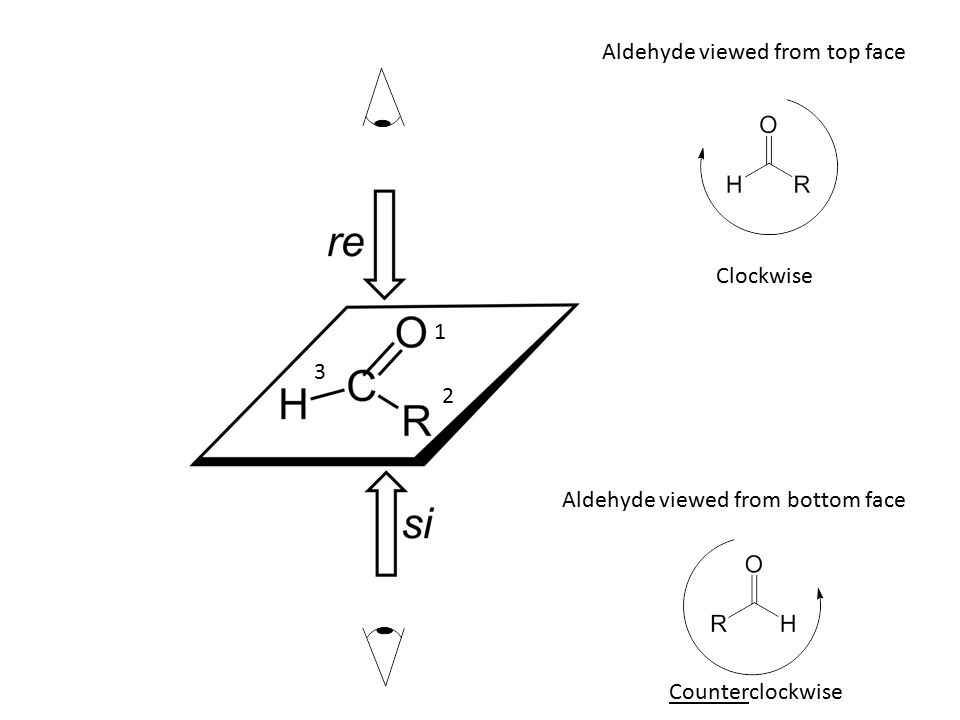 1 2 3 Aldehyde viewed from top face Aldehyde viewed from bottom face Clockwise Counterclockwise