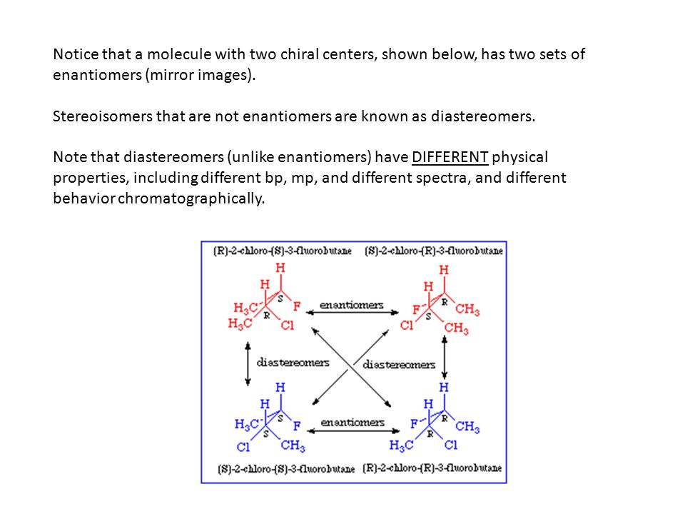 Notice that a molecule with two chiral centers, shown below, has two sets of enantiomers (mirror images).