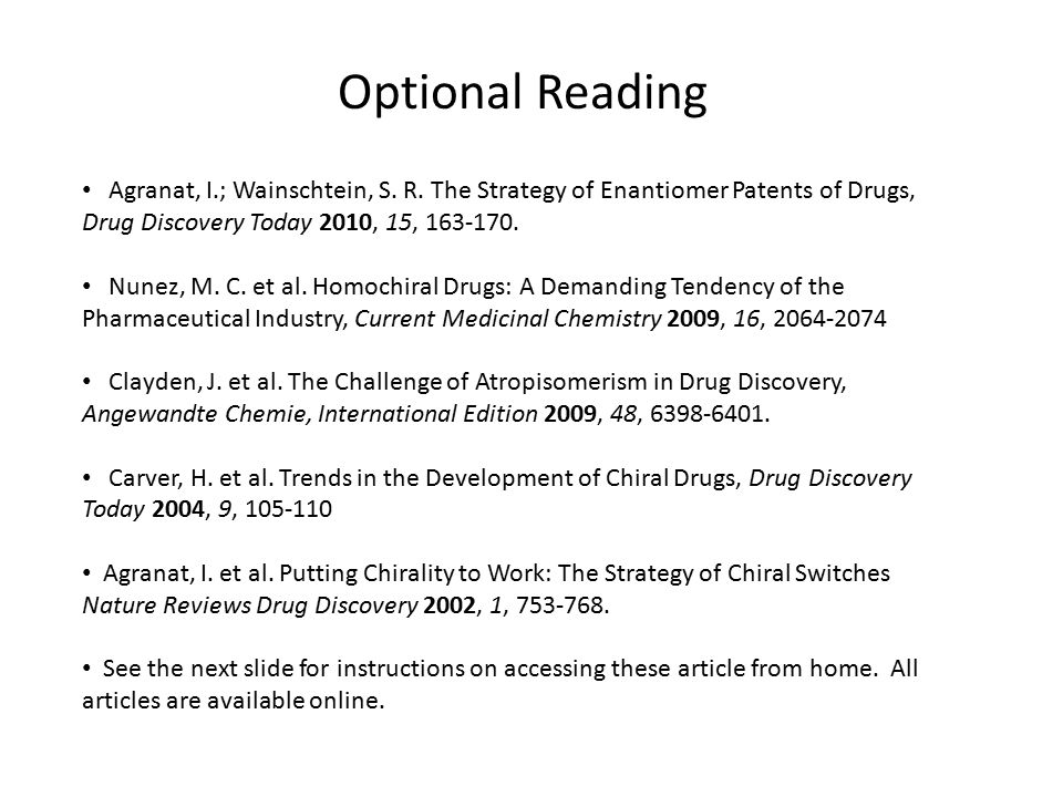 Optional Reading Agranat, I.; Wainschtein, S. R.