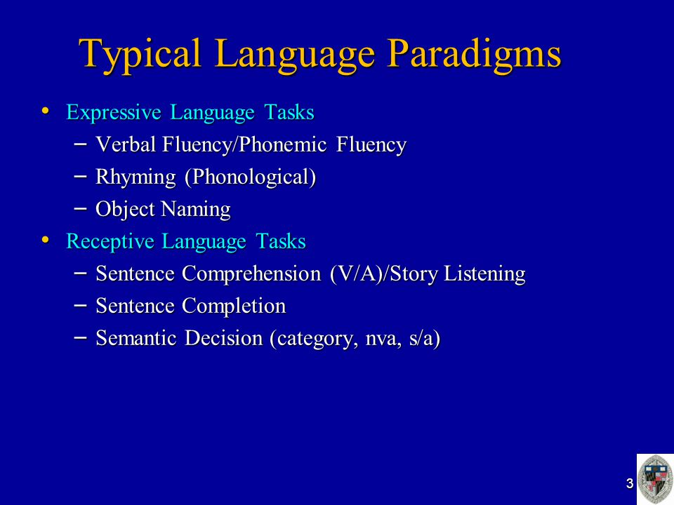 Typical Language Paradigms Expressive Language Tasks Expressive Language Tasks – Verbal Fluency/Phonemic Fluency – Rhyming (Phonological) – Object Nam