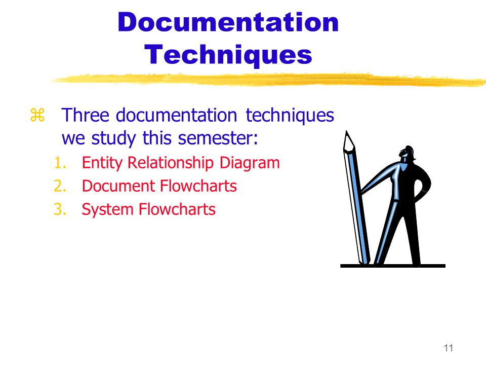 11 Documentation Techniques zTzThree documentation techniques we study this semester: 1.Entity Relationship Diagram 2.Document Flowcharts 3.System Flowcharts