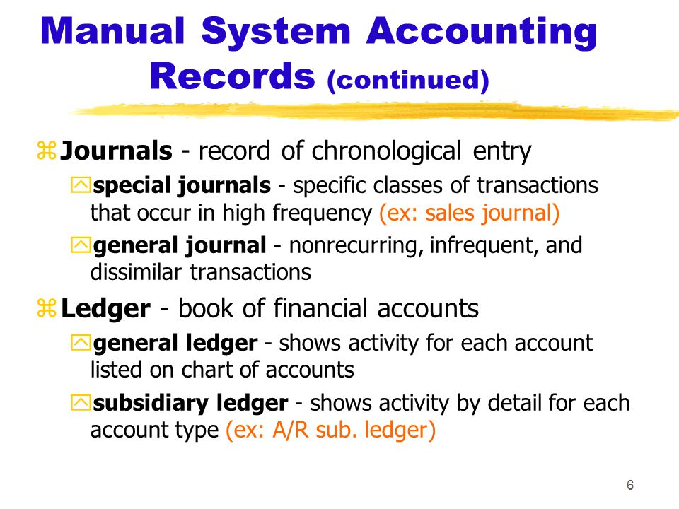 6 Manual System Accounting Records (continued) zJournals - record of chronological entry yspecial journals - specific classes of transactions that occur in high frequency (ex: sales journal) ygeneral journal - nonrecurring, infrequent, and dissimilar transactions zLedger - book of financial accounts ygeneral ledger - shows activity for each account listed on chart of accounts ysubsidiary ledger - shows activity by detail for each account type (ex: A/R sub.
