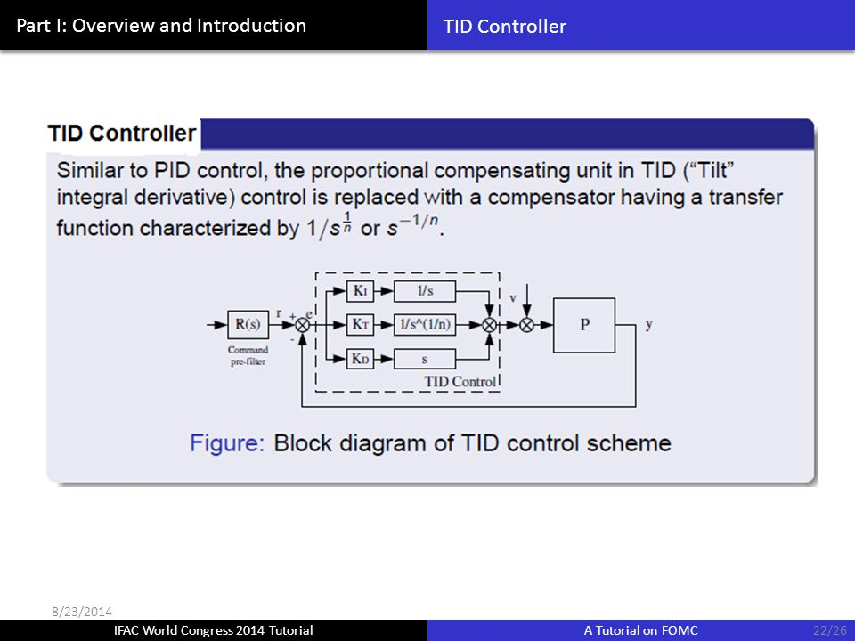 IFAC World Congress 2014 Tutorial A Tutorial on FOMC Part I: Overview and Introduction TID Controller 22/26 8/23/2014
