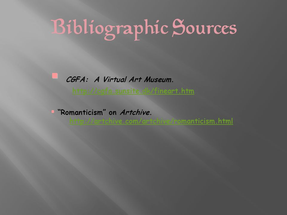 Bibliographic Sources   CGFA: A Virtual Art Museum.