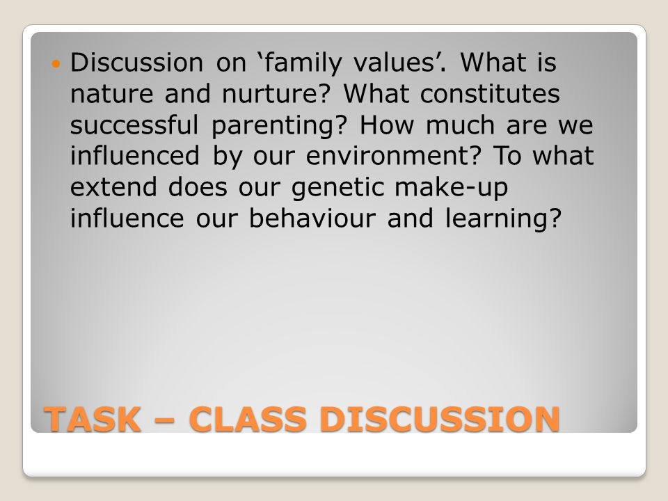 TASK – CLASS DISCUSSION Discussion on 'family values'.