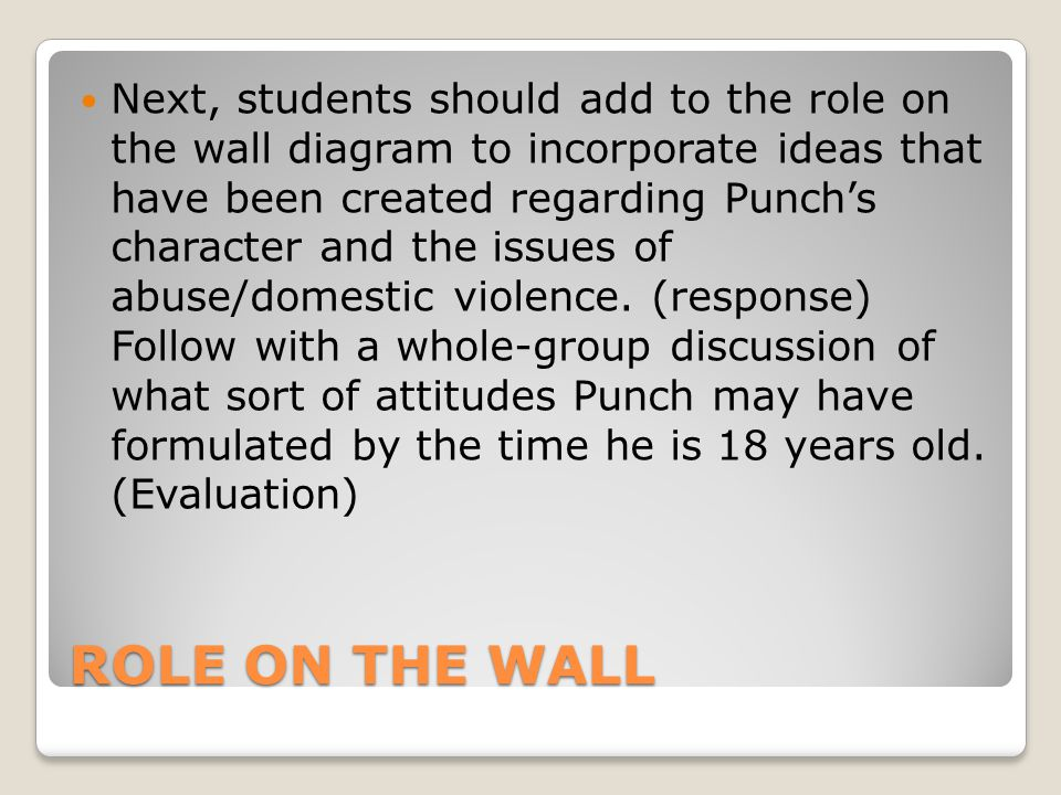 ROLE ON THE WALL Next, students should add to the role on the wall diagram to incorporate ideas that have been created regarding Punch's character and the issues of abuse/domestic violence.