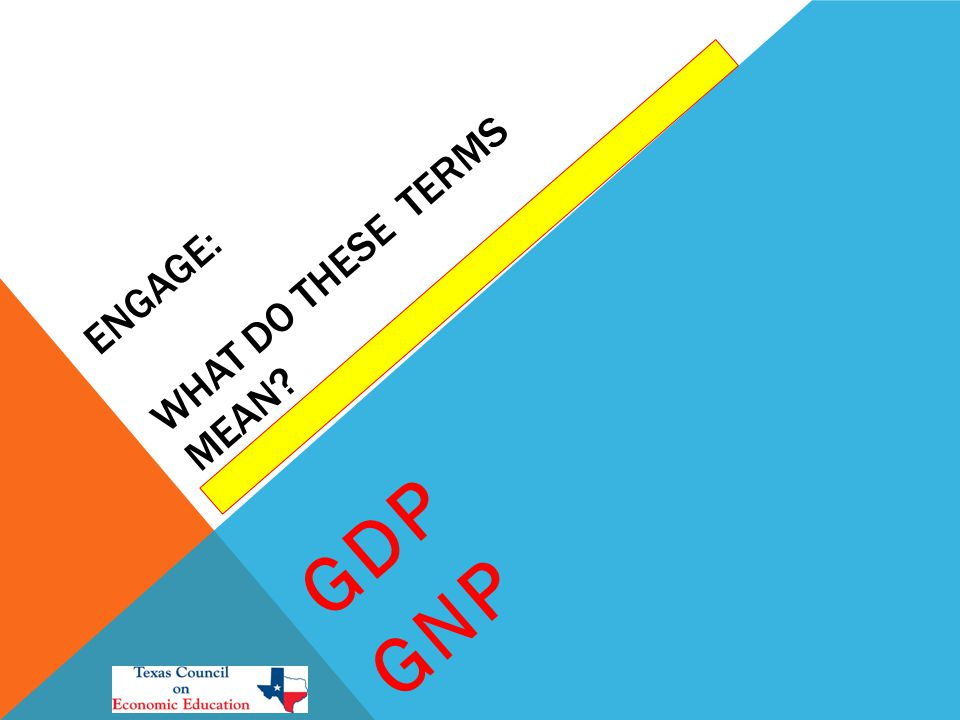 ENGAGE: WHAT DO THESE TERMS MEAN GDP GNP
