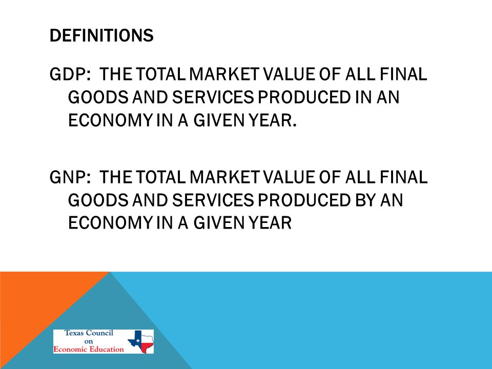 DEFINITIONS GDP: THE TOTAL MARKET VALUE OF ALL FINAL GOODS AND SERVICES PRODUCED IN AN ECONOMY IN A GIVEN YEAR.