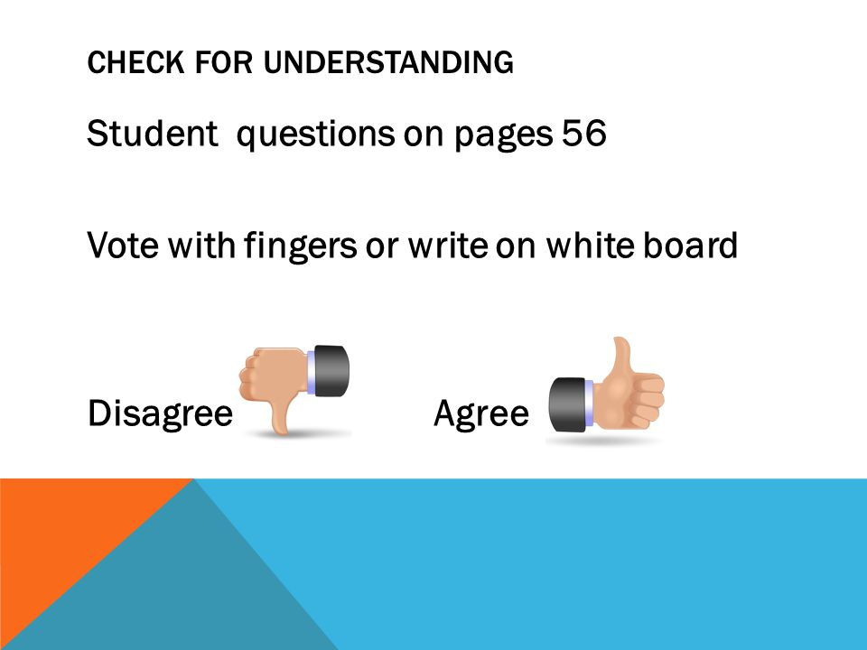 CHECK FOR UNDERSTANDING Student questions on pages 56 Vote with fingers or write on white board DisagreeAgree